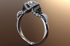 Diamond Vapor Skull Ring with Half Carat Center 14K Gold