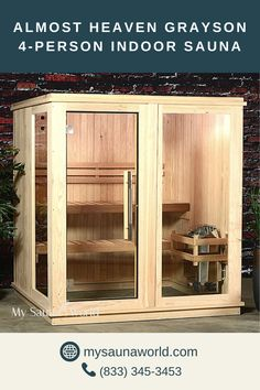 The equal length and width of the Grayson Indoor Sauna provides you with more floor area in front of the 2-tier benches, so you'll have plenty of space to move around. Check it here to know more!