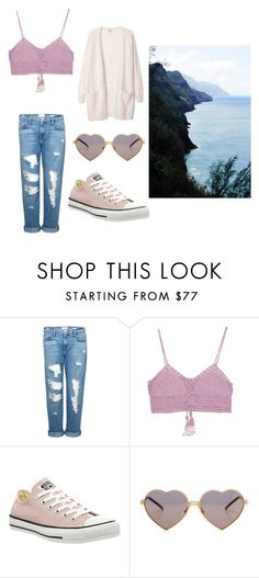 """""""summer collection #1 ; cold beach day"""" by kaylinstites02 ❤ liked on Polyvore featuring Frame Denim, SHE MADE ME, Converse and Wildfox"""