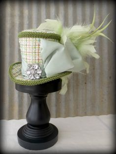 Kiwi Green, Tweed, Jeweled Mini Top Hat, Alice in Wonderland Mini Top Hat,Tea Party Hat, Scarab Beetle, Gear Hat, Mad Hatter Hat, Bridal
