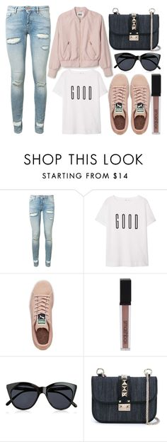 """street style"" by sisaez ❤ liked on Polyvore featuring Off-White, MANGO, Puma, Smashbox, Le Specs and Valentino"