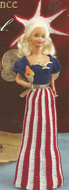 Patriotic Barbie doll costume - Crochet pattern leaflet