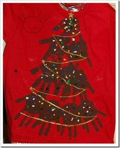 Christmas Tree Hand print t-shirts