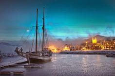 Akureyri on a cold winter evening... #akureyri #northiceland