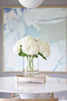 Late Summer Refresh Tips & Home Tour - white hydrangeas clear vase