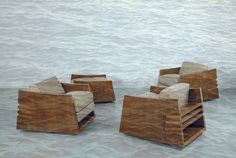 Chairs by Frank Lloyd Wright overlapped with an image by Vija Clemins