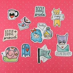 """This set of stickers are for anyone who loves sending or receiving snail mail, and especially for iggles!   This is a pack of 10 hand drawn stickers that range in size from 1"""" to 2"""". Printed on matte adhesive paper and cut out by hand.  Because these stickers are matte, they are perfect for l..."""