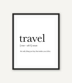 Travel Print, Travel Poster, Travel Definition, Poster Printable, Printable typography, Definition print, mid century wall art, Minimalist #travelprint #travel #printable #traveldefinition #theonlything #themiuusstudio