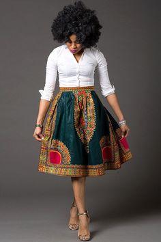 African Ankara midi lenght High Waist Skirt African par Laviye