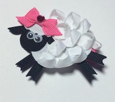 Items similar to Little Bo Sheep Hair Clip on Etsy Easy Hair Bows, Ribbon Hair Clips, Ribbon Art, Ribbon Hair Bows, Diy Ribbon, Ribbon Crafts, Diy Unicorn Headband, Animal Bows, Barrettes