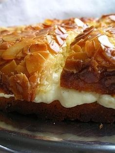 Bee Sting.. delicious german layer cake with honey almonds and a pastry or whipped cream filling