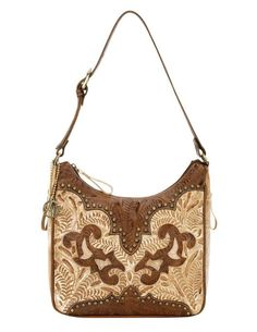 Hand Tooled Leather Concealed Carry CCW Hobo Handbag by American West - Cream / Antique Tan $227.99 + Free Shipping! wantedwardrobe.net wantedwardrobe.com #shop #CCW #western #fashion #handbags