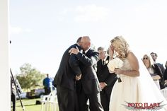 Groom hugging father-in-law Woods Golf, What A Beautiful Day, Bridesmaid Dresses, Wedding Dresses, Outdoor Ceremony, Law, Groom, Father, Bridesmade Dresses