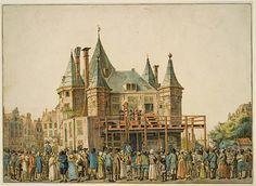 Guillotine op de Nieuwmarkt, tekening door Gerrit Lamberts, 1812