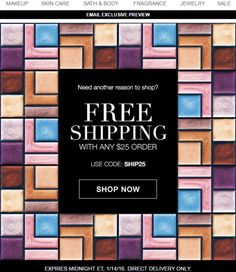 Avon Free Shipping January 2016 - Get Avon free shipping on your online order of $25 or more when you use Avon coupon code: SHIP25 at http://eseagren.avonrepresentative.com. Expires: midnight January 14, 2016.