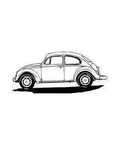 Retro VW Beetle Clip Art // Volkswagen Bug Cars by
