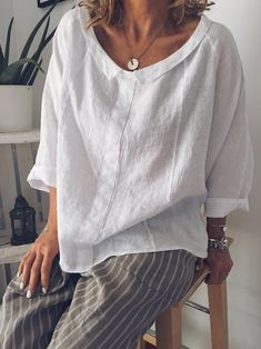 Blusas Informal Escote redondo Escote redondo Manga - Women's Fashion : Tops & Blouses - Short Sleeve Blouse, Long Sleeve Shirts, Long Shirts, Short Sleeves, Blouse En Coton, Sexy Bluse, Shirt Bluse, Plus Size Pants, Plus Size Blouses