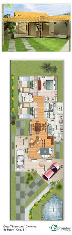Projeto de casa com 3 dormitórios, sendo 1 suíte. Ampla garagem para dois carros, com 40,18 m² de área, com acesso lateral para a cozinha. Sala de estar e jantar não conjugadas Telhado em telha de barro.