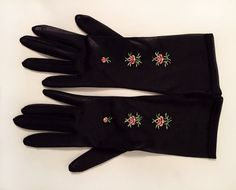 NOS Vintage 1940's Embroidered Nylon Black Gloves by Mayers Make. Made in U.S.A.