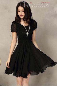 スリムパッチワーク半袖シフォンレースのドレス12038368