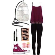 Time to Chill...? by avacartwright on Polyvore featuring polyvore, fashion, style, M&Co, Pieces, Converse, Lord & Berry, Eos and Mitchell Gold + Bob Williams