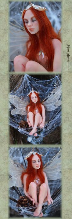 Fairy Resting in Spiderweb Handsculpted OOAK Art by NenufarBlanco, €295.00