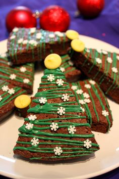 Christmas Brownies -- cut in a triangle, drizzle with icing and sprinkle with sprinkles