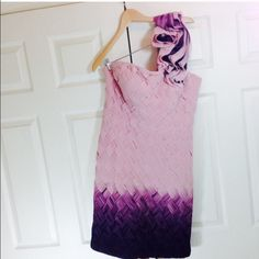 🛍CLEARANCE🛍 STUNNER BRAIDED OMBRÉ DRESS Truly a luxe timeless fit dress. Strapless with soft and sheer rosette wide over one shoulder strap. Pink-purple ombrè square tiny pleat braided fabric. Perfect for Spring/Summer. In perfect condition. Comes from a pet-smoke free home. Fits true to size. This dress is still sold in stores at regular price!!! Offers welcome. Perfect for Spring-Summer formal wear. Mikal Aghal Dresses Midi