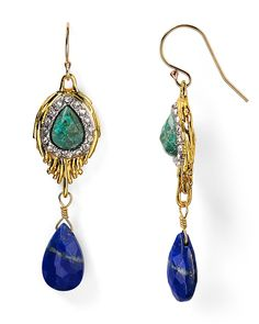 Alexis Bittar Feathered Chrysocolla & Lapis Drop Earrings | Bloomingdale's