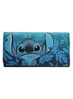 Flap wallet with a blue Hawaiian Stitch design. Inside has card slots and billfold. Snap button closure.
