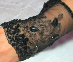 OOAK Hand Beaded Lace Cuff in Total Black