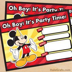 FREE Printable Mickey Mouse Birthday Invitation