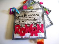 Dying over these custom soft books! Made from sports pages, newspaper from baby's birth date, sheet  music...you name it. via coolmompicks.com