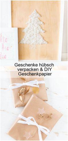 Geschenke verpacken und Geschenkpapier selber machen: Packpapier einfach bedrucken und mit goldenen Zweigen verzieren. Perfekt für Weihnachten. #geschenke #weihnachten #geschenkpapier...,Geschenke hübsch verpacken & DIY Geschenkpapier,  #DIY #Geschenke #Geschenkpapier #hübsch #verpacken Blog, Brown Paper, Wrapping Gifts, Diy Presents, Present Wrapping, Packaging, Diy, Blogging