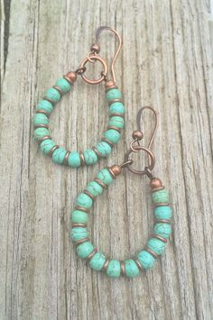 1df86e6b3 Turquoise Hoop Earrings Copper and Turquoise Handmade Jewelry Diy Earrings  Beads, Beading Jewelry, Beaded