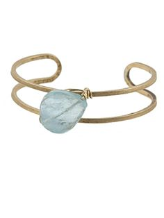 """Narrow Stone Cuff on brass by Peggy Li Creations. Aquamarine, brass and 14k gold-filled wire on a 1/2"""" wide cuff."""