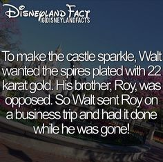 To make the castle sparkle, Walt Disney wanted the spires plated with 22 karat gold. His brother, Roy, was opposed. So Walt sent Roy on a business trip vacation and had it done while he was gone so he didn't know > Disneyland facts. Disney Dream, Disney Love, Disney Magic, Disney Stuff, Disneyland Secrets, Disney Secrets, Disney And Dreamworks, Disney Pixar, Walt Disney World