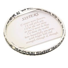 """Rosemarie Collections Women's If Sisters Were Flowers Engraved Bangle Bracelet (Silver Color). Simple and stylish twist design bangle bracelet. Inscription reads: """" If sisters were flowers, I'd still pick you. I'd let the sun shine so you'd never be blue. I'd show the world how beautifully you grew, with bright bold and strength through and through."""". 2.5 inch diameter opening, fits small to medium wrists. Great for stacking with other bangles or wearing alone. This beautiful and..."""