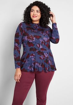 Plus Size Long Sleeve Peplum Top Women In Navy Floral Print. Plus Size navy floral soft jersey knit peplum in tulip and star print, this versatile, long-sleeved plus size peplum hem and mock neckline with dual button closures. Plus Size Fashion Dresses, Trendy Plus Size Clothing, Modest Fashion, Plus Size Outfits, Fashion Outfits, Girl Outfits, Short Women Fashion, Plus Size Fashion For Women, Long Sleeve Peplum Top
