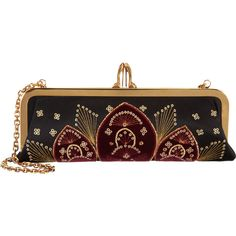 Christian Louboutin Miss Loubi Sombrero Clutch ($579) ❤ liked on Polyvore featuring bags, handbags, clutches, purses, accessories, brown hand bags, christian louboutin, chain handle handbags, chain strap purse and brown purse