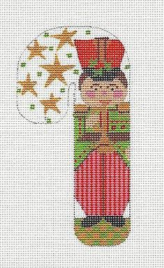 *NEW*  MED. Candy Cane Toy Soldier handpainted Needlepoint Canvas Ornament Danji