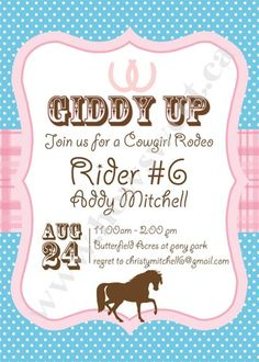 Pony Party Printable Invitation | Sweetparties - Children's on ArtFire
