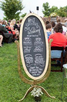 Wedding Program A decorative chalkboard is a fabulous (and eco-friendly) alternative to traditional ceremony programs. Wedding Wishes, Our Wedding Day, Perfect Wedding, Fall Wedding, Diy Wedding, Wedding Events, Rustic Wedding, Wedding Reception, Dream Wedding