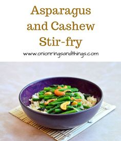 Asparagus and Cashew Stir-fry is delightful vegan dish made of crisp asparagus and crunchy cashews  served over brown rice
