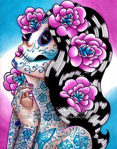 Art Print - Dia De Los Muertos Sugar Skull Girl Portrait With Tattoos - A Moment of Silence on Etsy, $5.00