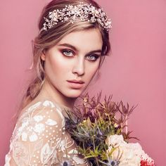 Crystal and pearls bridal halo. Can be worn with the vine in the front for a stunning romantic look or back of the head for a bohemian style.