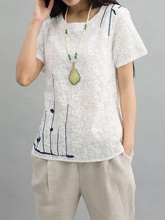 Sale 16% (21.69$) - Casual Women Embroidery Irregular Hem Cotton Linen T-Shirt