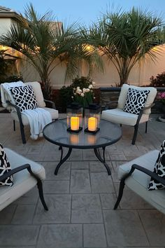 Illuminate a patio or romantic picnic spread with our modern, but classic black glass lanterns. Features a set of flameless, ivory resin candles enclosed in elegant, minimal black-brushed metal and glass. Design Patio, Backyard Patio Designs, Backyard Projects, Backyard Landscaping, Landscaping Ideas, Modern Backyard Design, Cool Backyard Ideas, Pergola Ideas, Front Patio Ideas