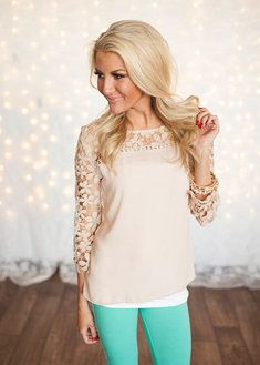 Graced with Lace Top Taupe