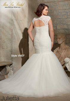 Style VNEF  SOFT NET- REMOVABLE SHOULDER COVER WITH ALENCON LACE APPLIQUES Available in White, Ivory